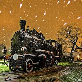Steam locomotive by Zoran Rudec - Transportation Trains ( steam locomotive, snow, train, night )