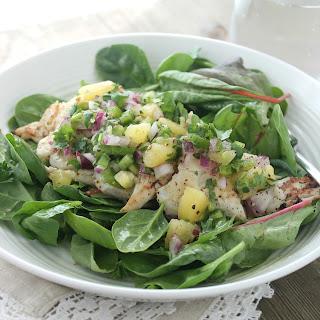 Grilled Haddock Salad with Kiwi Lime Cilantro Salsa.