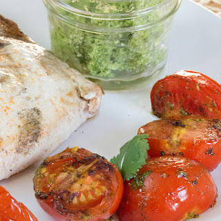Grilled Swordfish and Tomatoes with Cilantro Butter.