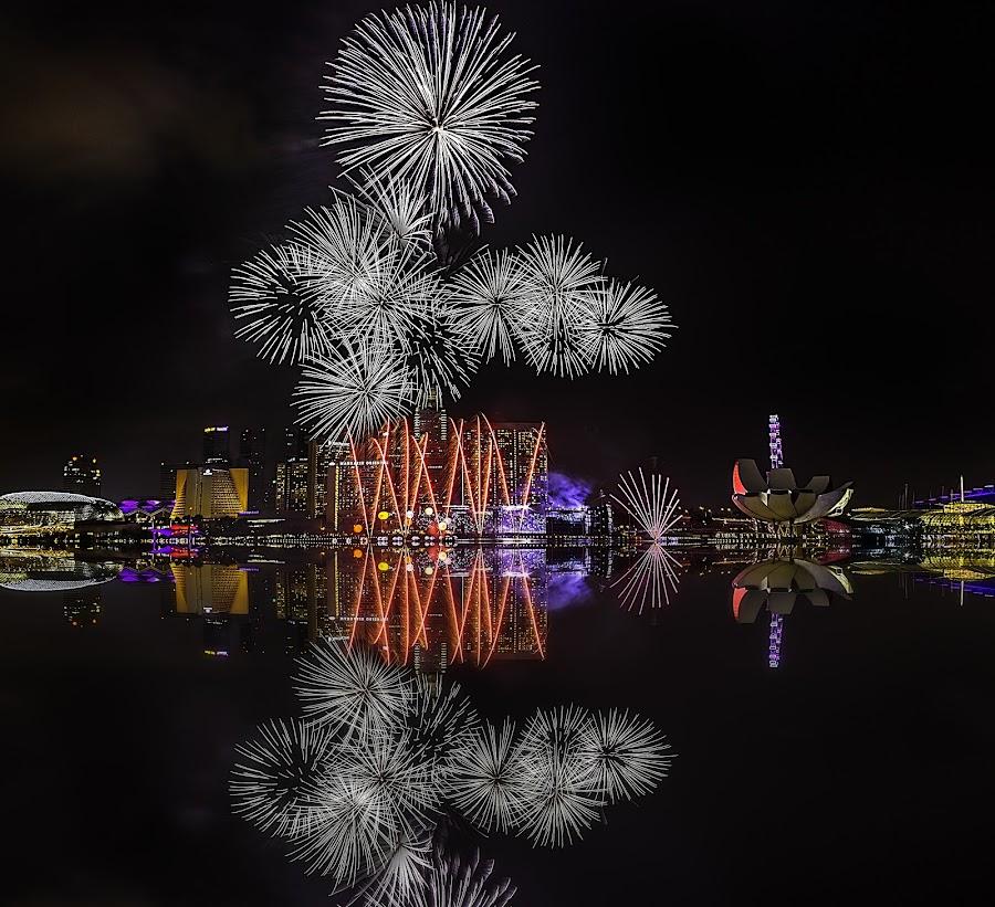 Fireworks@city by Senthil Damodaran - Abstract Fire & Fireworks ( reflection, pwcfireworks, fireworks, celebration, city, night, lights )