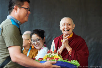 Photo: Flowers Offering for Jetsunma Tenzin Palmo at breafast this morning before the closing ceremony of 14th Sakyadhita International Association of Buddhist Women Conference. Photo courtesy of Olivier Adam
