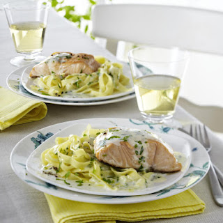 Salmon with Tarragon Sauce and Pasta.
