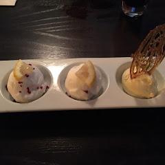 Lemon ice cream and sorbet pudding