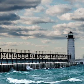 Manistee Light by Greg Croasdill - Landscapes Waterscapes ( lake michigan, lighthouse, manistee, storm,  )