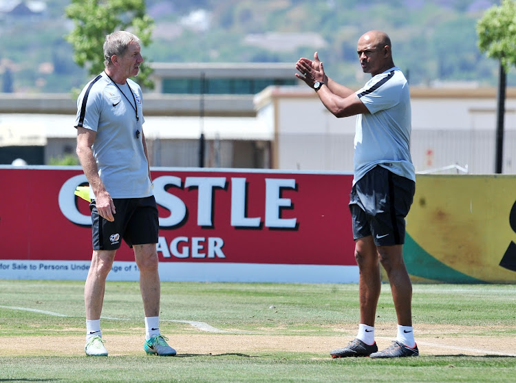 Bafana Bafana coach Stuart Baxter (L) has roped in former striker Shaun Bartlett (R) to his technical team for the home and away 2019 Africa Cup of Nation qualifying matches against Seychelles. The pair were pictured during the SA training session on Tuesday October 9, 2018 at Steyn City School in Johannesburg.