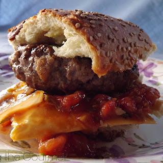 Hamburgers with Fresh Tomato and Onion Relish.