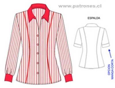 Diseño de blusa camisera manga larga y manga corta con corte francés delantero y espalda