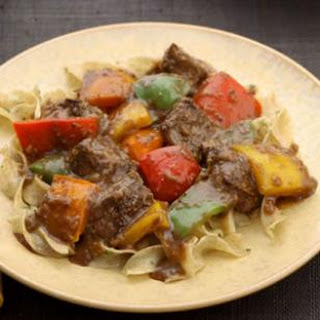Fennel-Crusted Sirloin Tips with Bell Peppers.