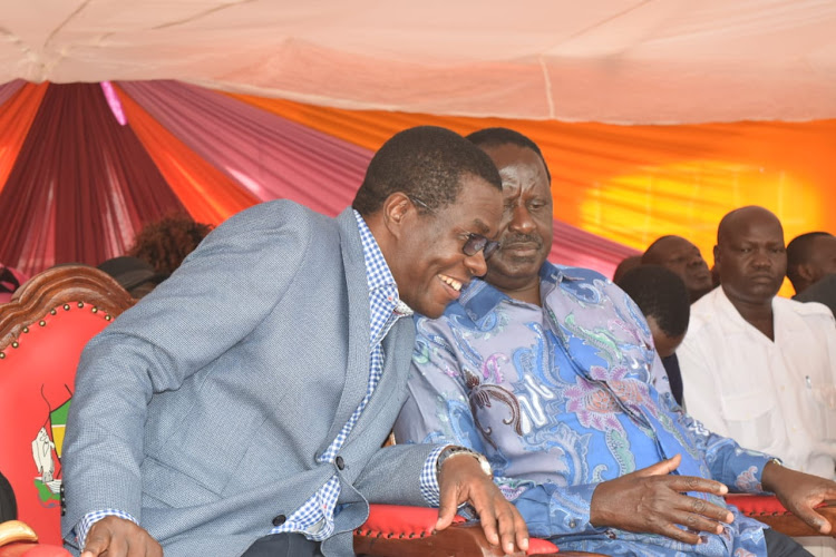 Ugunja MP Opiyo Wandayi and ODM leader Raila Odinga in Ugunja on February 27.