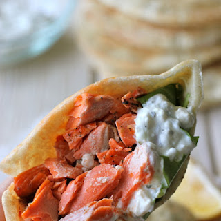 Broiled Salmon Gyros with Cucumber Feta Yogurt Dip.