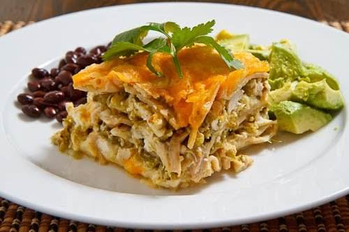 "Salsa Verde Lasagna""A Mexican style chicken lasagna with layers of noodles, cheese,..."