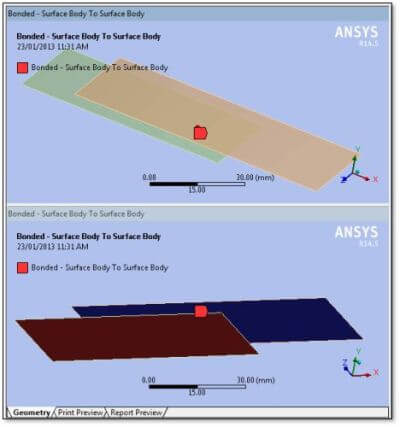 ANSYS Модель с двумя параллельными пластинами, выполненная в Workbench Mechanical