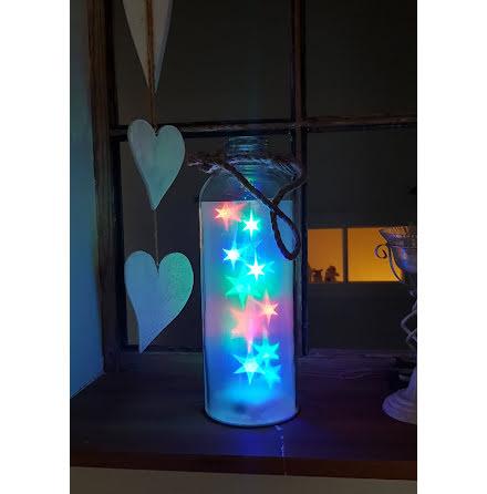 Flaska med Ledljus Färgade LED-Stjärnor