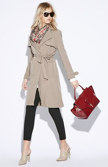 Classic look with neutral trench coat, checked scarf and red bag for Soft Autumn women