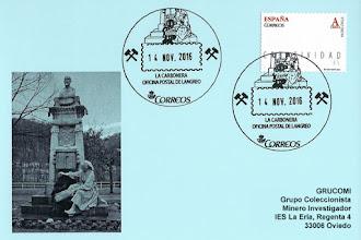 Photo: Tarjeta del matasellos turístico de Langreo, de la Oficina Postal de Correos en La Felguera, con la Carbonera