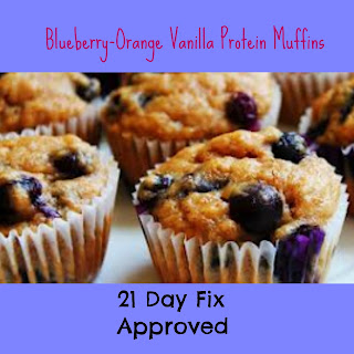 Blueberry-Orange Vanilla Protein Muffins.