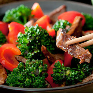 Beef and Broccoli with Red Bell Pepper.