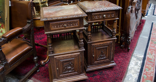 "8GT56 - Pair of French Oak ""Bretons"" Style Nightstands"