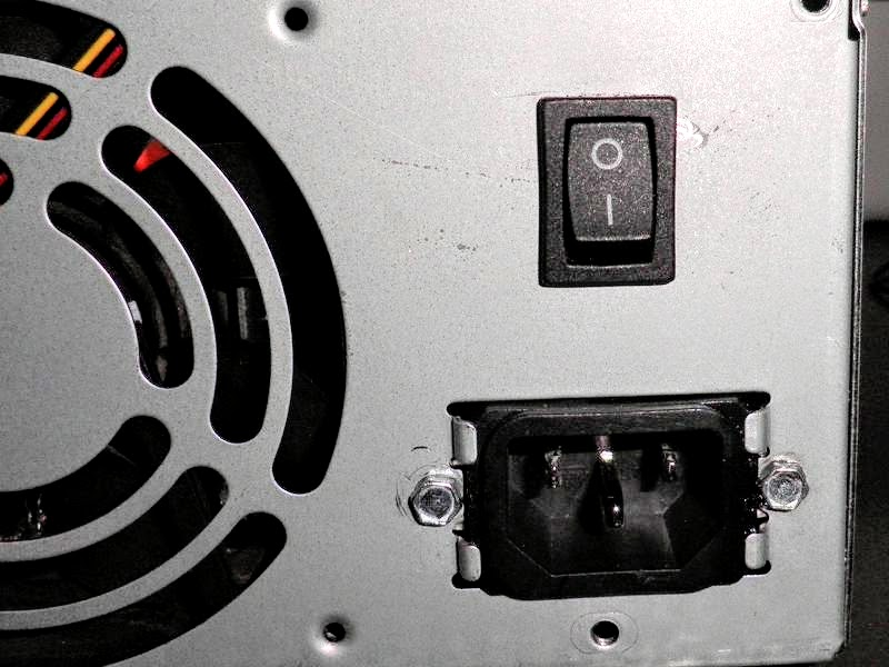 Interruptor añadido a la fuente de alimentación