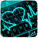 Live 3D Neon Blue Love Heart Keyboard Theme 6.11.7.2018