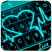 Live 3D Neon Blue Love Heart Keyboard Theme