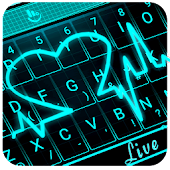 Live 3D Neon Heart Keyboard Theme