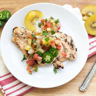 Jalapeno-Kiwi Grilled Chicken with Kiwi Pico de Gallo.