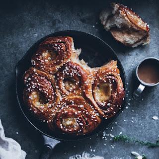 Butterkaka - Cinnamon Bun Cake with Almond Paste and Vanilla Custard Recipe