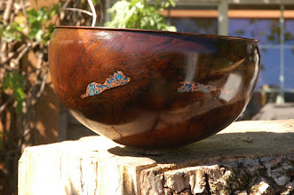 Photo: Black Walnut with copper and turquoise inlay