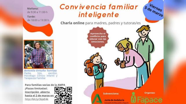 Cartel Charla Convivencia Familiar Inteligente de FAPACE con Antonio Ortuño.