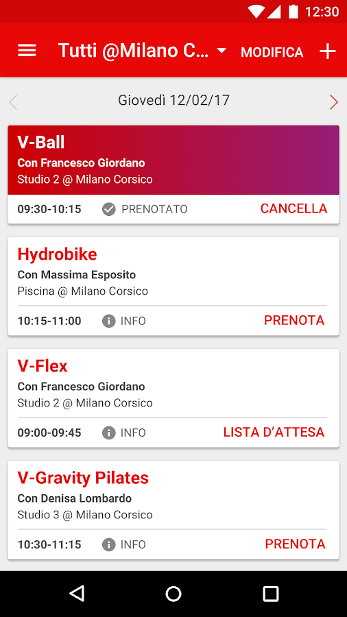 Virgin Active Italia- screenshot