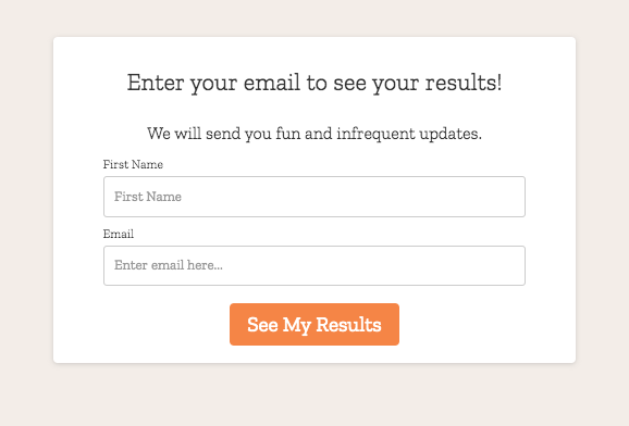 email sign up form from quiz