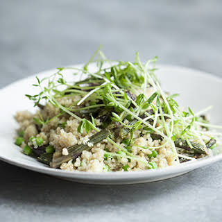 Purple Asparagus and Quinoa Salad with Peas and Pea Shoots (Gluten Free).