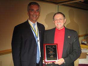"Photo: President Joe Johnsonl presented President-Elect Dennis Micare the ""President's Award"" for Dennis' work as Golf Tournament Chairman for the 2008-2009 Rotary Year"