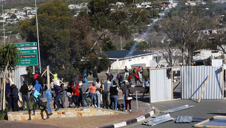 Residents protest over service delivery at Hout Bay.
