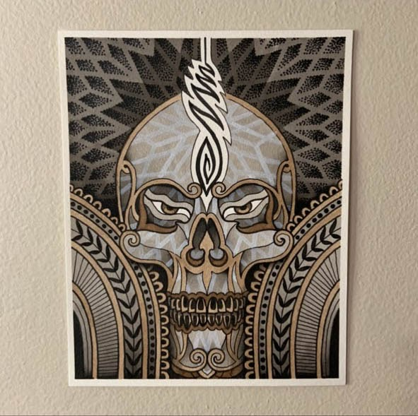 Karl Otto: Skull wood and marker piece