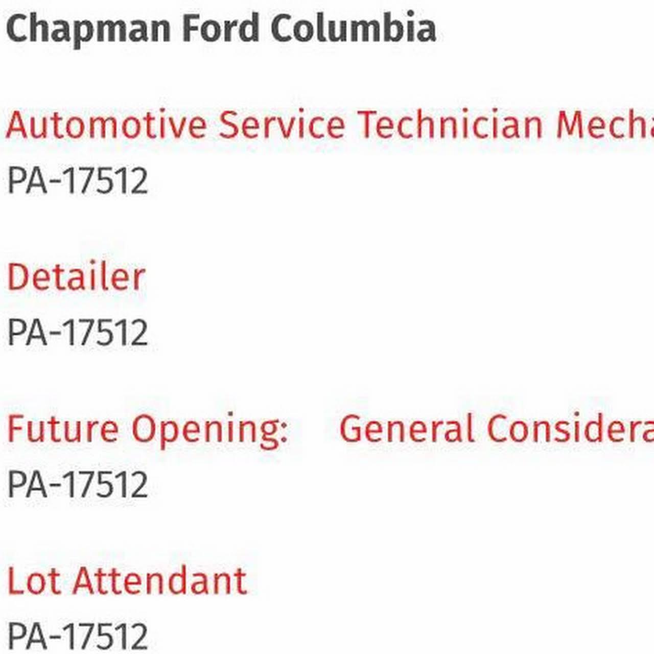Chapman Ford Columbia >> Chapman Ford Columbia Ford Dealer In Columbia