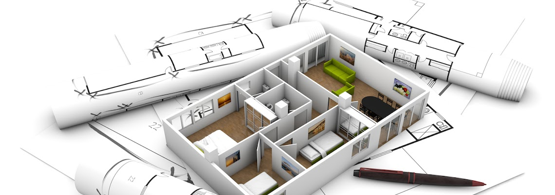 interior design concept: apartament mock-up over plots and architecture draws isolated on white background