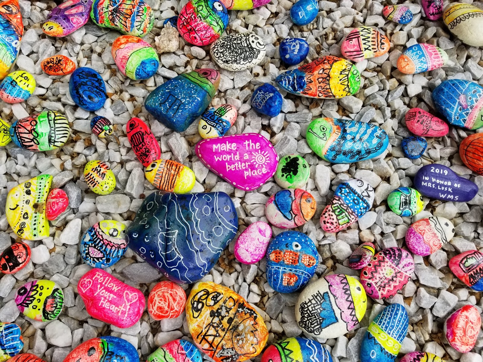 Painted rocks with words of encouragement