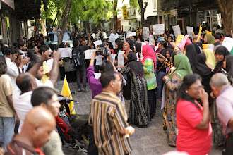 Photo: Protesting outside the Speaker's residence 12/03/12
