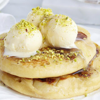 Banana Pancakes with Pistachios and Ice Cream.