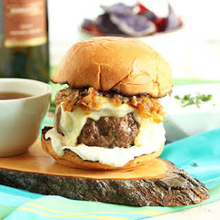 French Dip Burger with Havarti, Swiss and Bourbon Fried Onions.