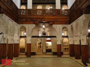 Photo: this is the Nejjarine Museum of Wood Arts and Crafts in Fes, a three-story patio that displays Morocco's various native woods, 18th- and 19th-century woodworking tools, and a series of antique wooden doors and pieces of furniture