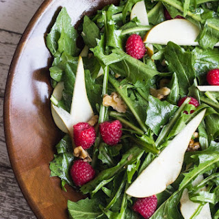 Warm Dandelion Greens Salad with Pears & Raspberries