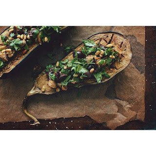 Moroccan Eggplant With Olives, Figs, Cilantro And Tahini.