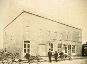 Photo: Harbeke Hall in the upstairs. Was located in the center of the southside of the east business block. Later became the Leather's Produce, burned in 1949.