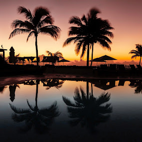 Cancun Pool Sunrise  by Chad Weisser - Landscapes Sunsets & Sunrises ( cancun, cancun mexico. now jade, mexico, maya riveria cancun )