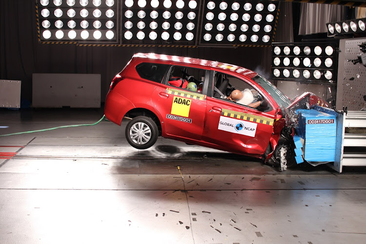 The Datsun GO+ during the crash test.