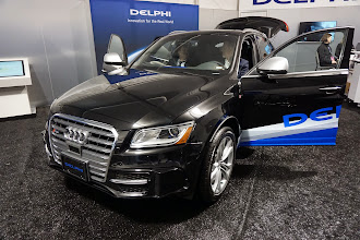 Photo: Delphi's car bristling with sensors -- 6 LIDARS and even more radars.