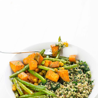 Turmeric Roasted Sweet Potato Green Beans and Crunchy Chickpeas.